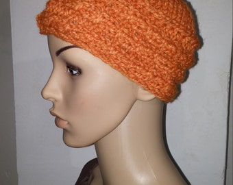 Pumpkin knit Cap with cable pattern