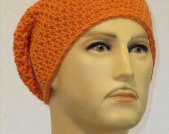 Crochet hat in a bright orange