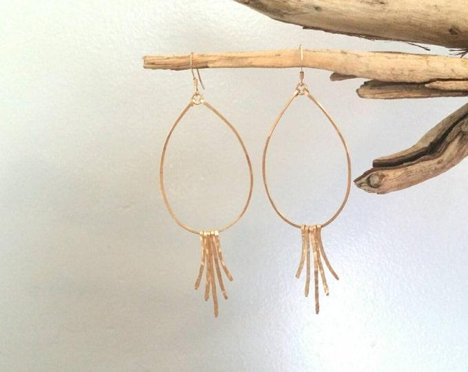 Gold Fringe Earrings, Silver Hoops, Hammered Earrings, Fringe Earrings, Teardrop Earrings, silver or gold