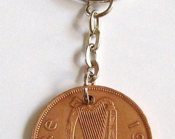 1963 1d Penny Pingin Irish Coin Keyring Key Chain Fob 54th Birthday