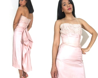 Vintage 40s 50s Blush Nude Pink Lace Silk Strapless Wiggle Cocktail Formal Dress