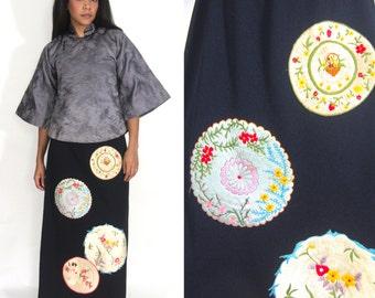 Vintage 70s Asian Black Embroidered Crane Geisha Floral High Waist Maxi Skirt Glam
