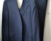 RARE Vintage BROOKS BROTHERS Dark Navy or Charcoal 4 Piece Sack Suit Jacket Waistcoat 2 Pairs Trousers Approximately Size 40/42 L Long