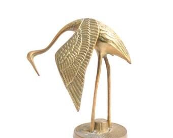 Brass Crane, Crane Figurine, Brass Crane Figurine, Brass Figurine, Gold Crane, Gold Crane Figurine, Brass Decor, Vintage Crane, Crane Statue