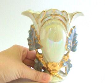 Vintage Vase, White Vase, Opalescent Vase, Leaf Print Vase, Small White Vase, Opalescent Glass, Opalescent Bud Vase, White Opalescent Vase