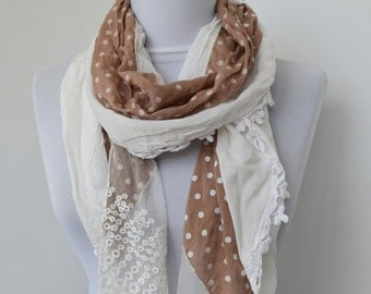 Beige Dotted Fabric Scarf - Lace Scarf  - Soft Cotton Scarf - Cowl Scarf - Shawl Scarf     931