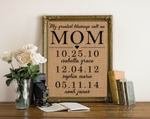 My greatest blessings call me mom   Personalized Mother's Day Gift   Burlap Print   Children's names and birthdates   Frame not included