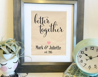 Better Together | Personalized Names and Est Date | 2 year Cotton Anniversary Gift | Gift for Husband or Wife | Frame not included