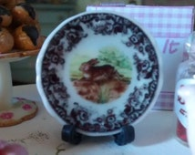 Dolls House miniature  Classical Easter Bunny Ceramic Plate