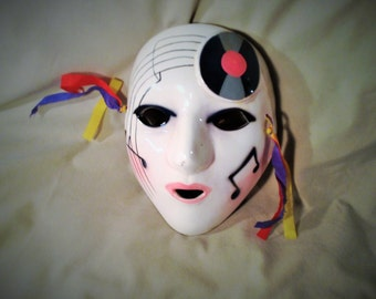 Glass Hanging Face Mask - Colorful Musical Wall Decor - Record and Music Symbols - Masquerade Mardi Gras Joker Mask