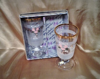 2 Heavy Crystalex Champagne Glasses - New in Box - Frosted, Floral Design - Handmade Bohemia Czechoslovakia - Wedding, Anniversary Drinkware