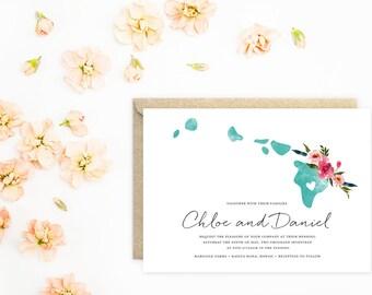 RESERVED Hawaii Wedding Invitations, Destination Wedding Invitations, Island Wedding