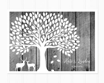 Guest Book Alternative, Black and White Wood Background, Deer Guestbook