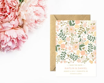 Save The Date, Floral Save The Date Cards, Pink and Peach, Whimsical Wedding Stationery