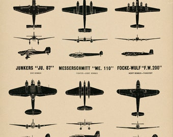 WW2 Vintage Style Plane Spotting Poster Chart Aircraft Recognition German Luftwaffe Fighters and Bombers - Battle of Britain