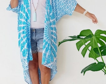 Teal Beach Kimono cover up - long, Flowy and soft Boho Kimono swim suit cover ups with sequins -  Boho chic beach Mandala print Kaftan