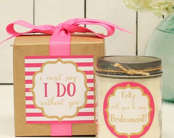 Will you be my Bridesmaid Gift // Will you be my Maid of Honor Gift // Bridesmaid Candle // Maid of Honor Candle-Sparkle label-Custom Color