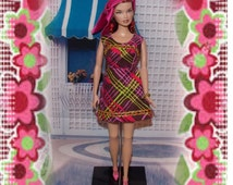 "1:6 Scale Fashion Doll Clothes ""Glamour Girl"" Purple Mini -Dress, Hair Scarf, Earrings & Gold Bead Bracelet."