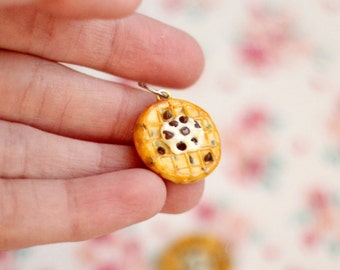 Chocolate Chip Waffle Charm, Polymer Clay Charm, Miniature Food Jewelry