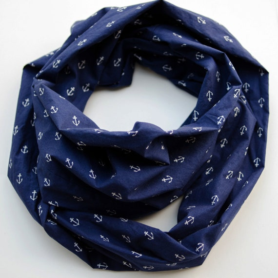 Anchors infinity scarf, Navy blue scarf, Nautical theme gift for her, Extra long infinity scarf, Soft cotton woven scarf, Sailing accessory