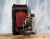 Vintage Kodak Camera, Eastman Kodak 3A Folding Camera, Antique Kodak Folding Camera with red bellows