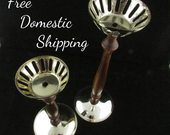 Vintage Tea Light Candle Holders, Set of Tea Light Holders, Wood & Metal Candle Holders, Rustic Tea Candle Holders, Free US Shipping