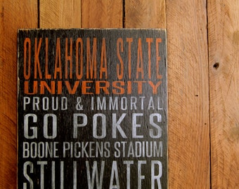 Oklahoma State University Cowboys Distressed Wood Sign--Great Father's Day Gift!