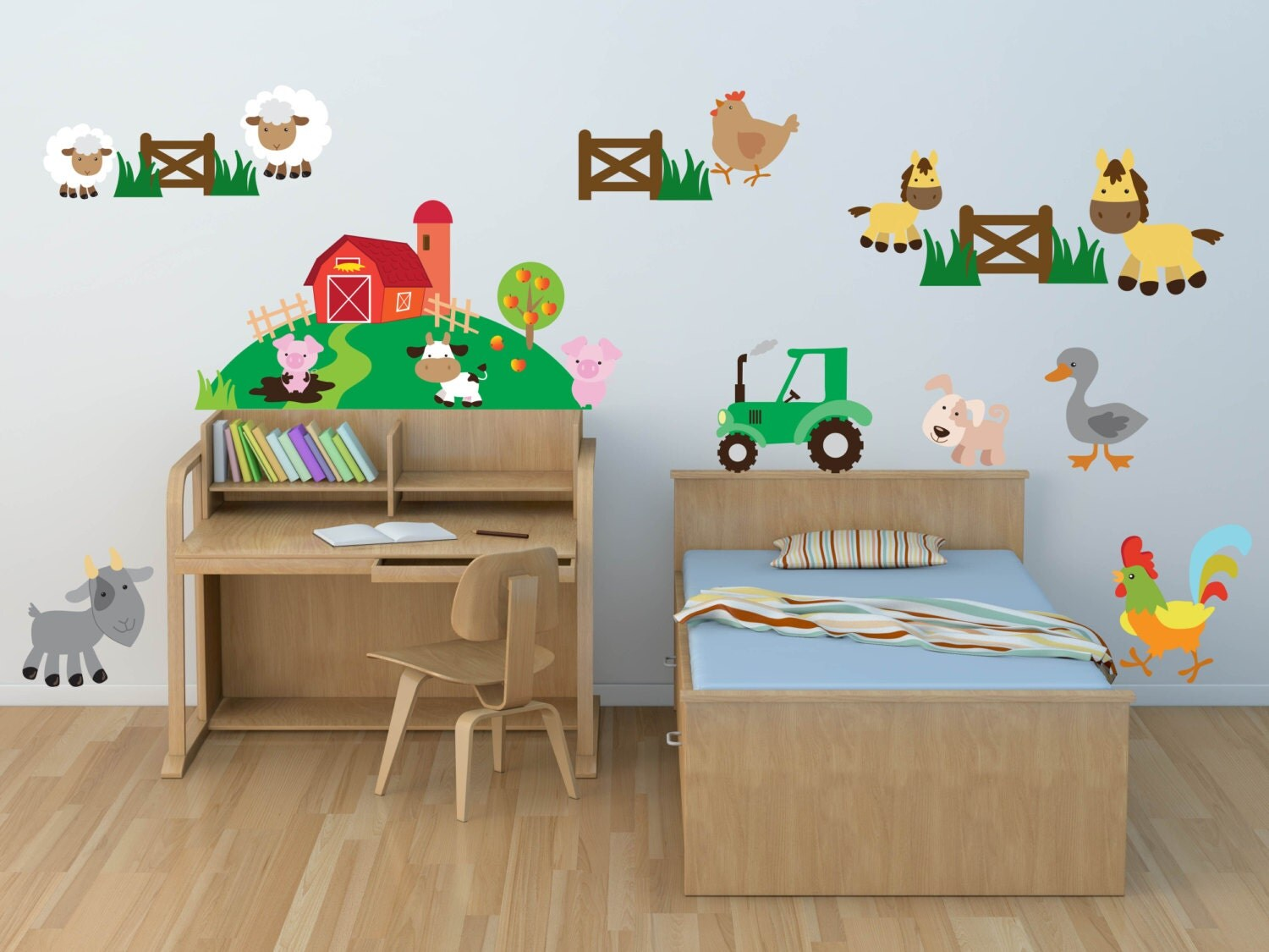 Farm wall decals for kids bedroom farm nursery decor farm for Barnyard wall mural