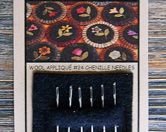 Notions: Chenille Needles for Wool Applique #24, Card Set of 6 Primitive Gatherings