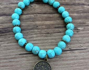 SALE!! Turquoise Stretch Bracelet with Zodiac Sign Charm