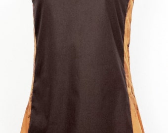 Flared cotton dress with inserts