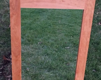 Cherry Framed Mirror - Bathroom Mirror - Bedroom Mirror - Hallway Mirror - Made to Order - Custom Sizes - Shaker Style
