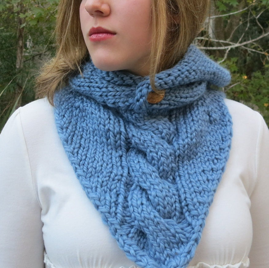 Knitted Cowl Pattern Using Bulky Yarn : Maid Marian Hoodie Cowl in Super Bulky Yarn Knitting Pattern