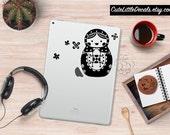 Cute Doll Laptop Decal -- Matryoshka Decal, Laptop Sticker, Macbook Decal Sticker, Nesting Doll, Car Window Decal, Wall Decal, Tumbler Decal