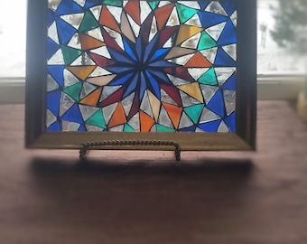 Kaleidoscope Stained Glass Mosaic/5x7 Inch Repurposed Golden Frame Comes Ready to Hang/Multi-colored Home Decor/Pinwheel Design