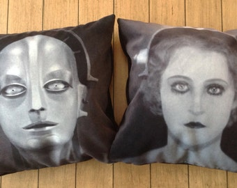 "metropolis - 18"" velveteen pillow case - set of 2 pillows - german expressionist silent film"