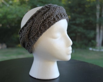 "Cabled Headband, Charcoal ""The Katie"""