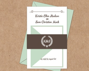 Rustic Wreath and Bow Suite - Printable Wedding Invitation, RSVP, and Info -  Coordinating Program Available