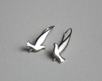 Silver Dove Earrings, Gift for Her - Best Friend, Sister, Daughter