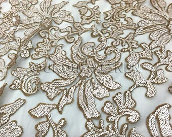 Milan Lace Fabric in Champagne - Luxurious Fabric w/ Sequins Embroidery Throughout - Great For Weddings, Bridal Parties, and Special Events