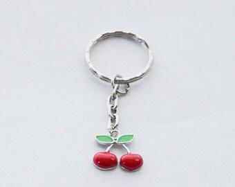 Cherry Keychain, Cherries, Silver Cherry Key Ring, Cherry Gift, Cherry Accessories, Silver Cherries Keychain, Fruit Gift, Rockabilly Cherry