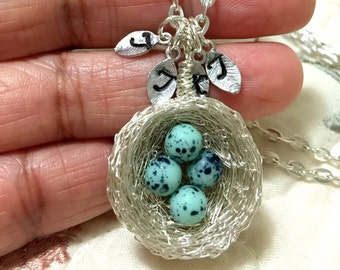 1,2,3,4,5 eggs on nest,mother's day gift, Personalized Bird Nest Necklace,Initial Necklace,turquoise nest, initial Nest Necklace