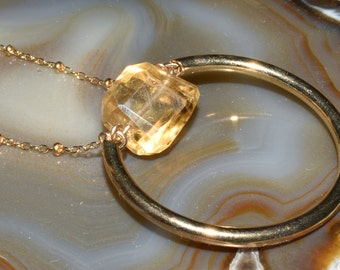 Citrine and Gold Necklace Lemon Nugget Golden Sun on Your Neck-lace Circle of Love