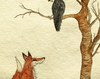 The Fox and the Crow - Aesop's Fables Illustration - Art Print