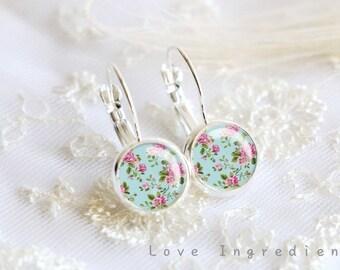 Floral dangle earrings, Vintage floral silver tiny drop earring, friendship earrings, Post earrings, gift for her girlfriend, rustic DE011