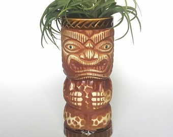 Vintage Tiki Mug Orchids of Hawaii Flower Vase Air Plant Porcelain Cup Made In Japan Collectible Tropical Home Decor Epsteam Green Eyes R3