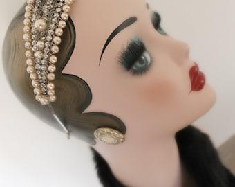 Vintage Rhinestone and Pearl Headpiece
