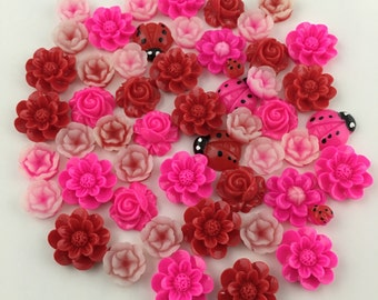 50 resin cabochon flowers ,assorted sizes, 11mm to 15mm#FL 111-2