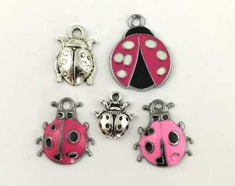 5 lady bug charms enamel and silver tone ,15mm to 26mm #CH 77-1