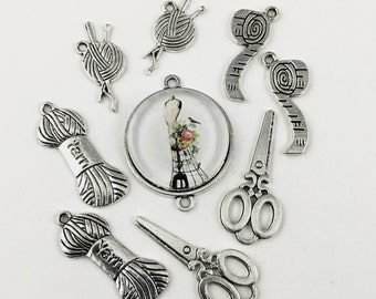 9 knitting and sewing charms silver tone 25mm to 32mm #CH 154-1